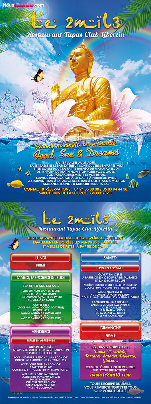 Soirée FOOD, SEX AND DREAM'S - Le 2mil3 - Hyères